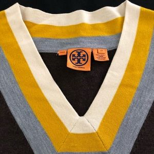 TORY BURCH Brown V-Neck Sweater Size XS